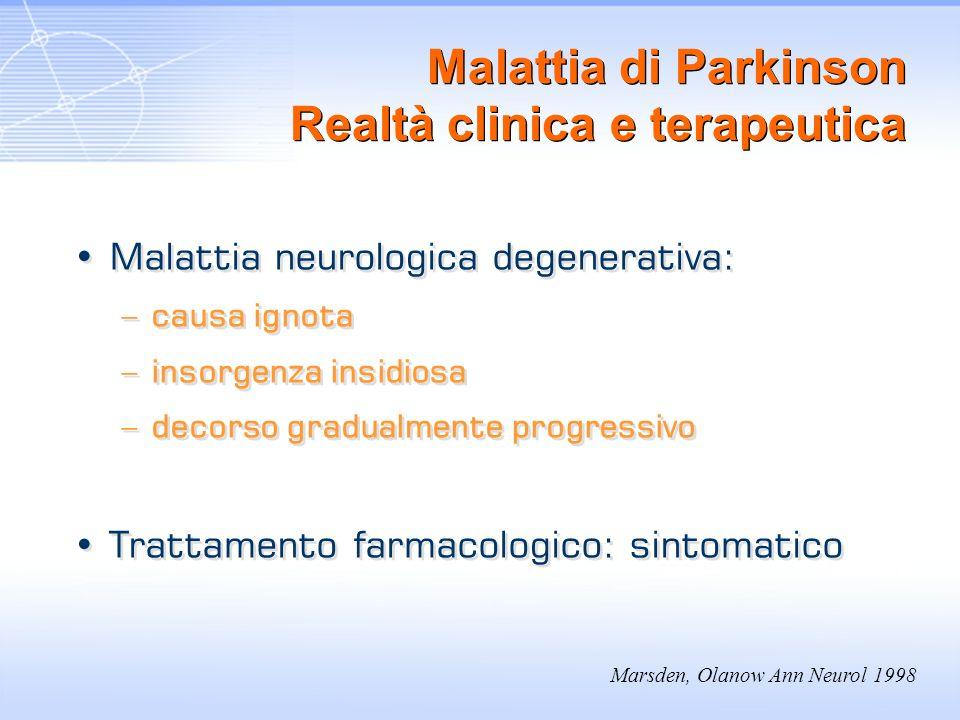 Marsden, Olanow Ann Neurol 1998 Malattia di Parkinson Realtà clinica e terapeutica Malattia neurologica degenerativa: –causa ignota –insorgenza insidi
