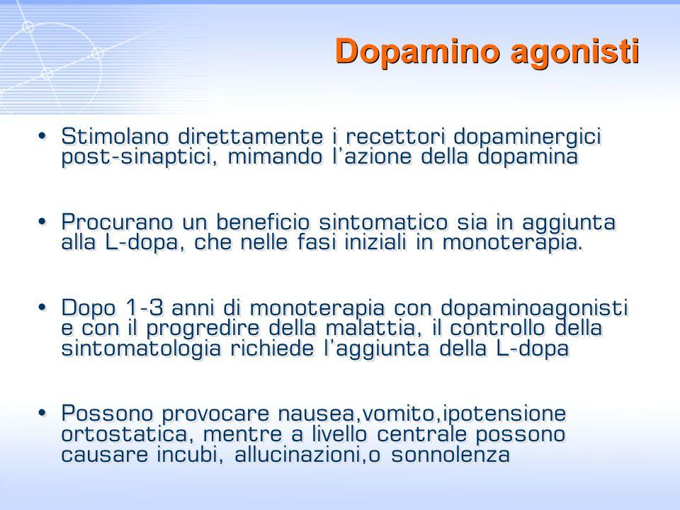 Dopamino agonisti Stimolano direttamente i recettori dopaminergici post-sinaptici, mimando lazione della dopamina Procurano un beneficio sintomatico s