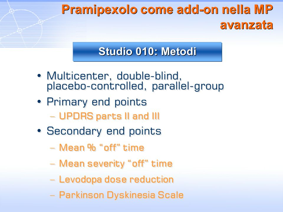 Pramipexolo come add-on nella MP avanzata Multicenter, double-blind, placebo-controlled, parallel-group Primary end points –UPDRS parts II and III Sec