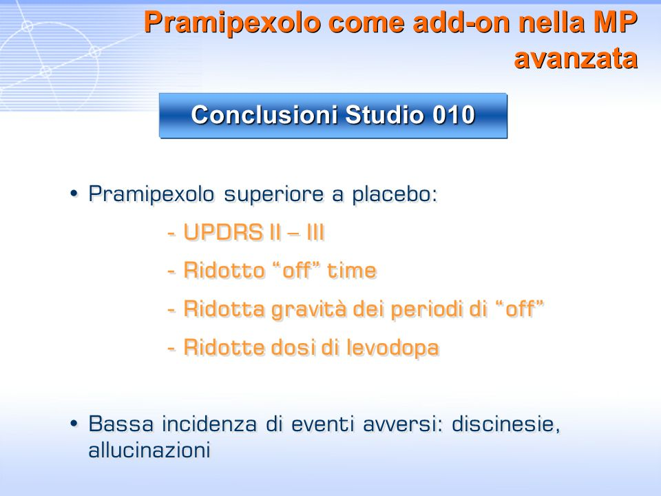 Pramipexolo come add-on nella MP avanzata Pramipexolo superiore a placebo: - UPDRS II – III - Ridotto off time - Ridotta gravità dei periodi di off -