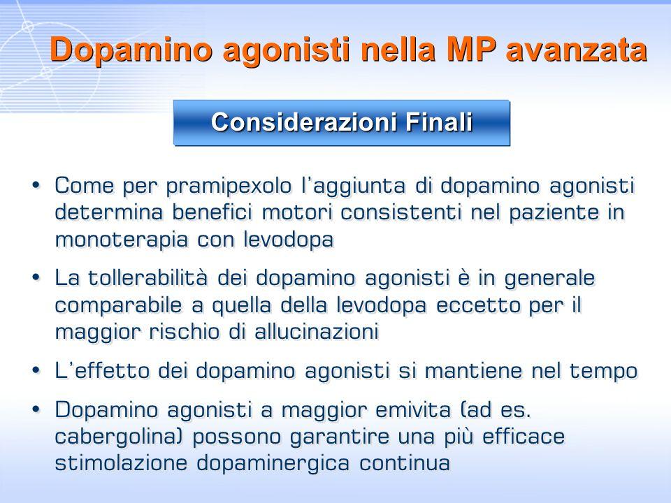 Dopamino agonisti nella MP avanzata Come per pramipexolo laggiunta di dopamino agonisti determina benefici motori consistenti nel paziente in monotera