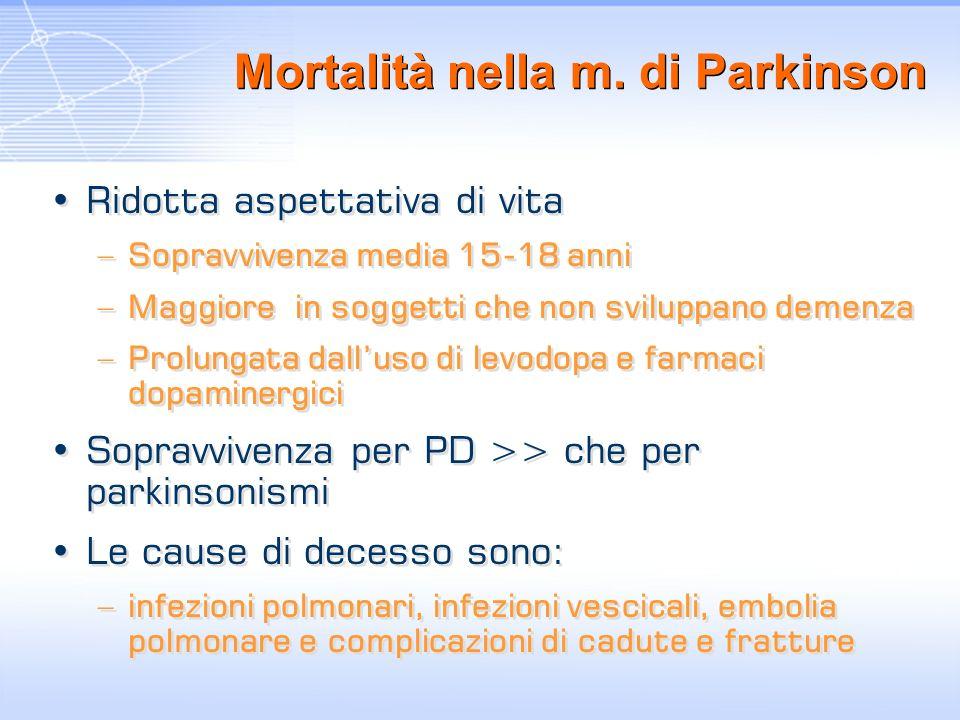 Mortalità nella m. di Parkinson Ridotta aspettativa di vita –Sopravvivenza media 15-18 anni –Maggiore in soggetti che non sviluppano demenza –Prolunga
