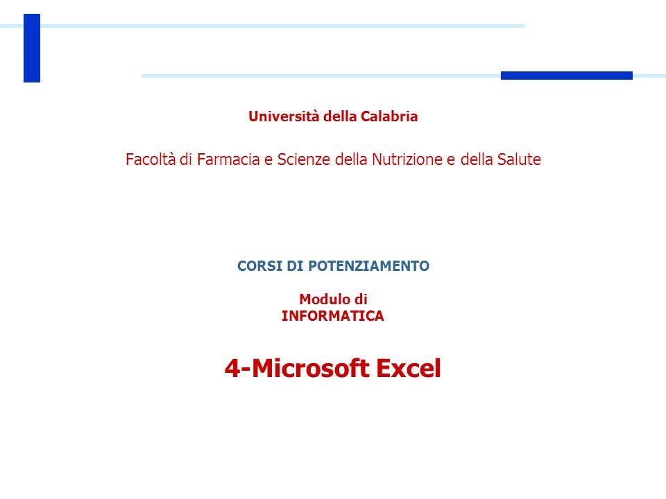 Università della Calabria Facoltà di Farmacia e Scienze della Nutrizione e della Salute CORSI DI POTENZIAMENTO Modulo di INFORMATICA 4-Microsoft Excel