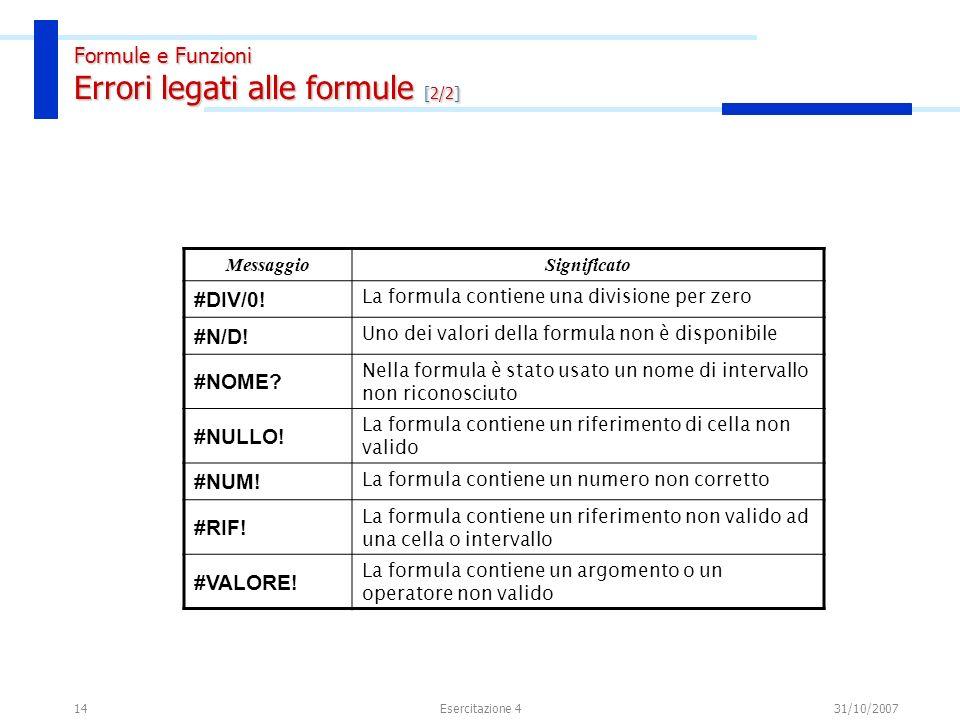 14 MessaggioSignificato #DIV/0! La formula contiene una divisione per zero #N/D! Uno dei valori della formula non è disponibile #NOME? Nella formula è
