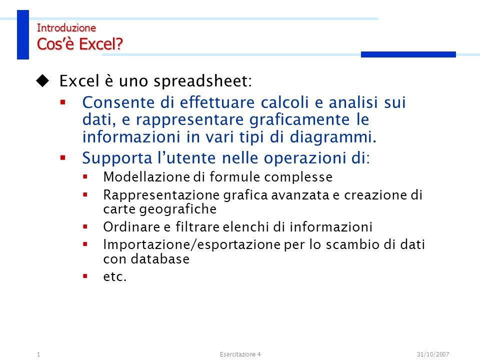 1 Excel è uno spreadsheet: Consente di effettuare calcoli e analisi sui dati, e rappresentare graficamente le informazioni in vari tipi di diagrammi.