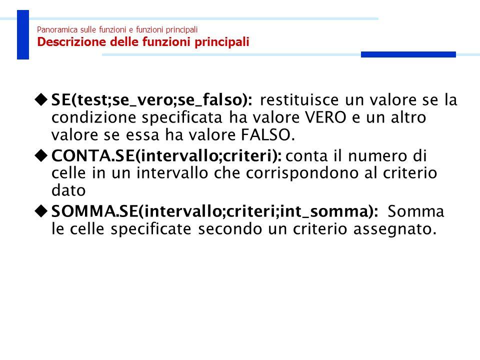 Panoramica sulle funzioni e funzioni principali Descrizione delle funzioni principali SE(test;se_vero;se_falso): restituisce un valore se la condizion