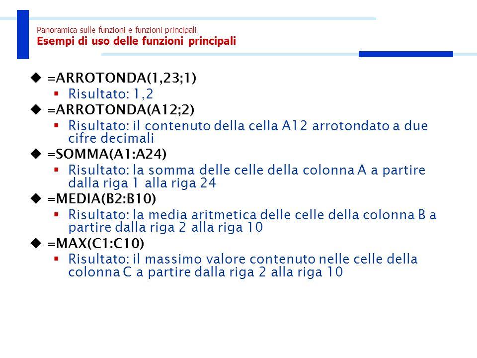 Panoramica sulle funzioni e funzioni principali Esempi di uso delle funzioni principali =ARROTONDA(1,23;1) Risultato: 1,2 =ARROTONDA(A12;2) Risultato: