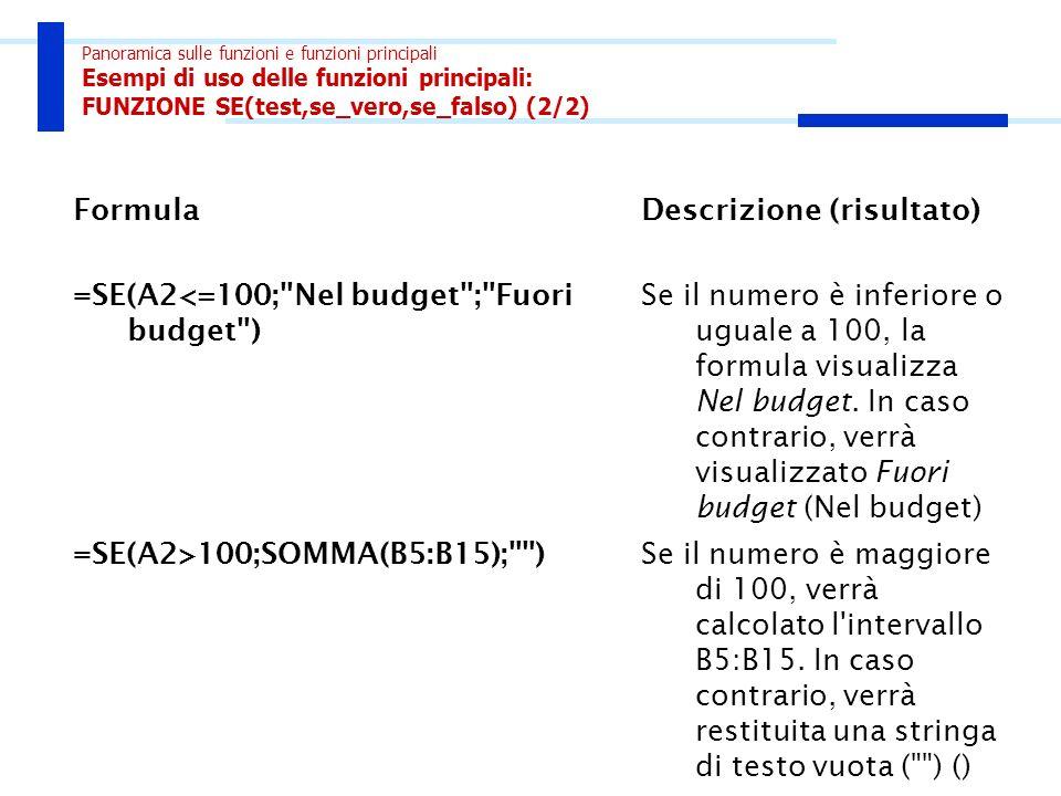 Panoramica sulle funzioni e funzioni principali Esempi di uso delle funzioni principali: FUNZIONE SE(test,se_vero,se_falso) (2/2) FormulaDescrizione (