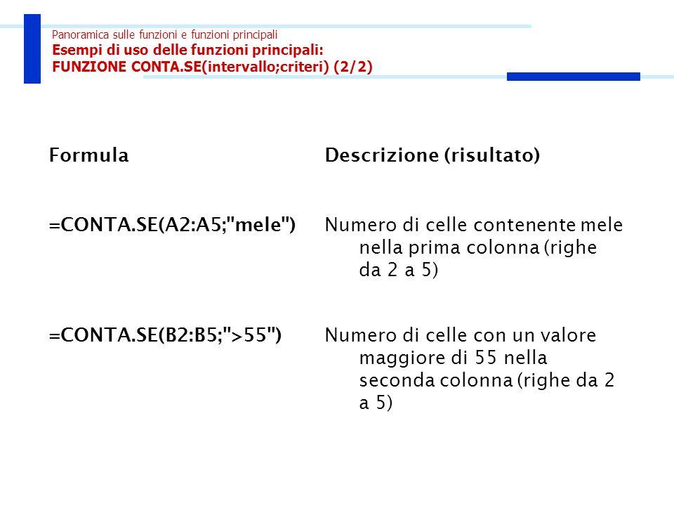 Panoramica sulle funzioni e funzioni principali Esempi di uso delle funzioni principali: FUNZIONE CONTA.SE(intervallo;criteri) (2/2) FormulaDescrizion