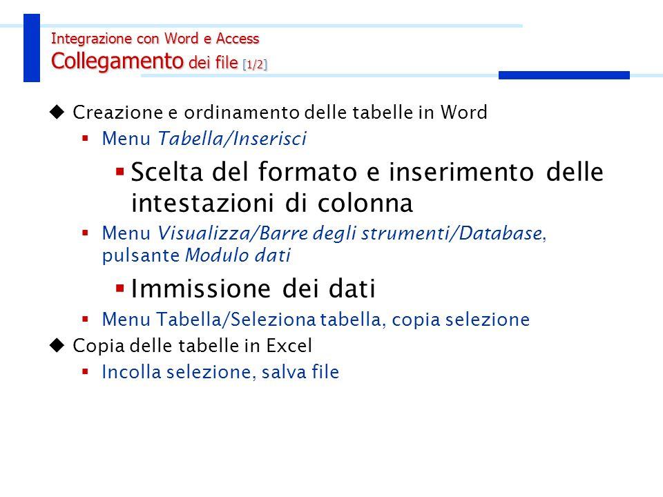 Creazione e ordinamento delle tabelle in Word Menu Tabella/Inserisci Scelta del formato e inserimento delle intestazioni di colonna Menu Visualizza/Ba