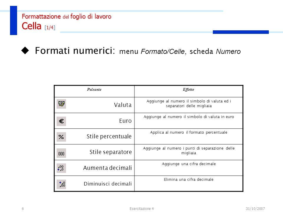 6 Formati numerici: menu Formato/Celle, scheda Numero Formattazione del foglio di lavoro Cella [1/4] PulsanteEffetto Valuta Aggiunge al numero il simb