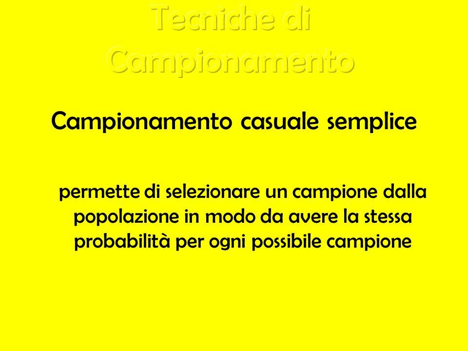 Campionamento casuale semplice permette di selezionare un campione dalla popolazione in modo da avere la stessa probabilità per ogni possibile campion