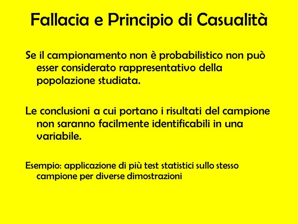 Fallacia e Principio di Casualità Se il campionamento non è probabilistico non può esser considerato rappresentativo della popolazione studiata. Le co