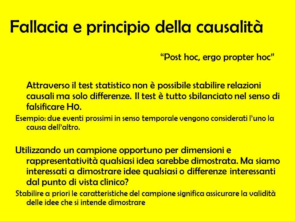Fallacia e principio della causalità Attraverso il test statistico non è possibile stabilire relazioni causali ma solo differenze. Il test è tutto sbi