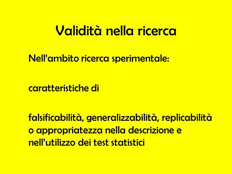 Validità nella ricerca Nellambito ricerca sperimentale: caratteristiche di falsificabilità, generalizzabilità, replicabilità o appropriatezza nella de