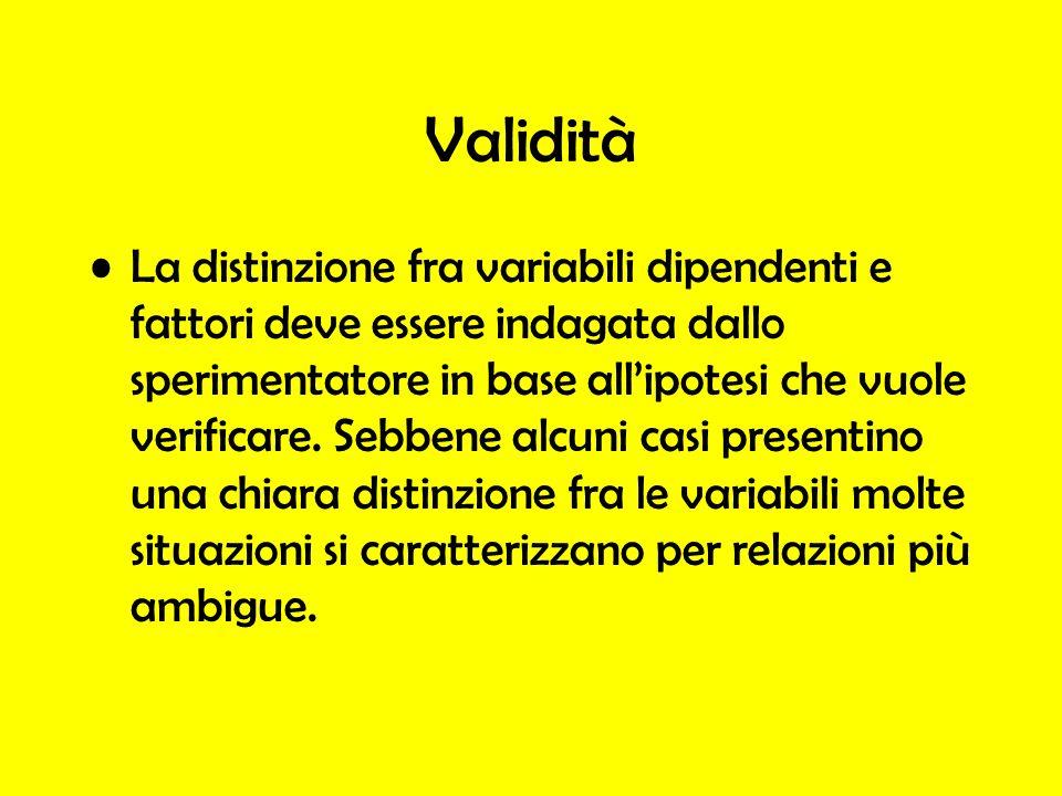 Validità La distinzione fra variabili dipendenti e fattori deve essere indagata dallo sperimentatore in base allipotesi che vuole verificare. Sebbene