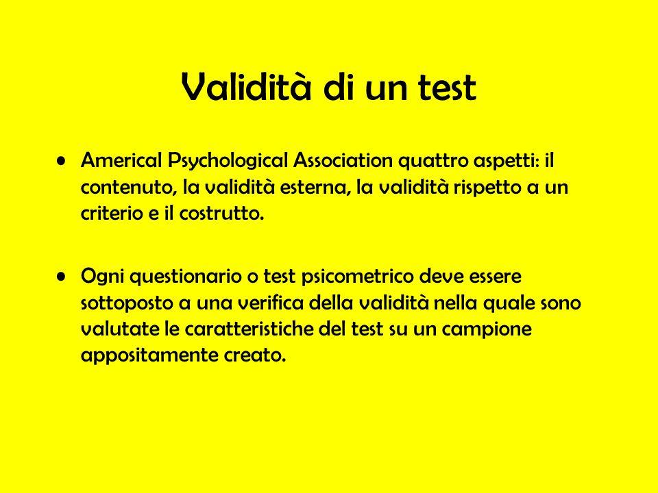 Validità di un test Americal Psychological Association quattro aspetti: il contenuto, la validità esterna, la validità rispetto a un criterio e il cos