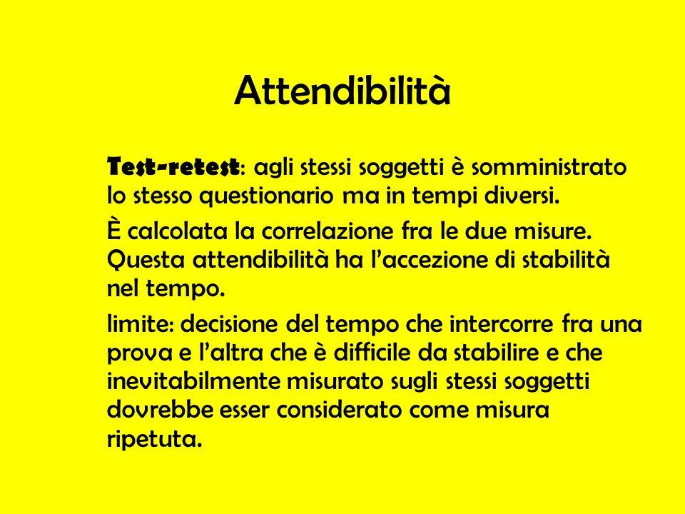 Attendibilità Test-retest : agli stessi soggetti è somministrato lo stesso questionario ma in tempi diversi. È calcolata la correlazione fra le due mi