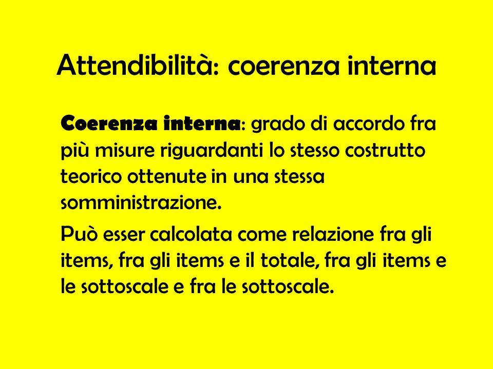 Attendibilità: coerenza interna Coerenza interna : grado di accordo fra più misure riguardanti lo stesso costrutto teorico ottenute in una stessa somm