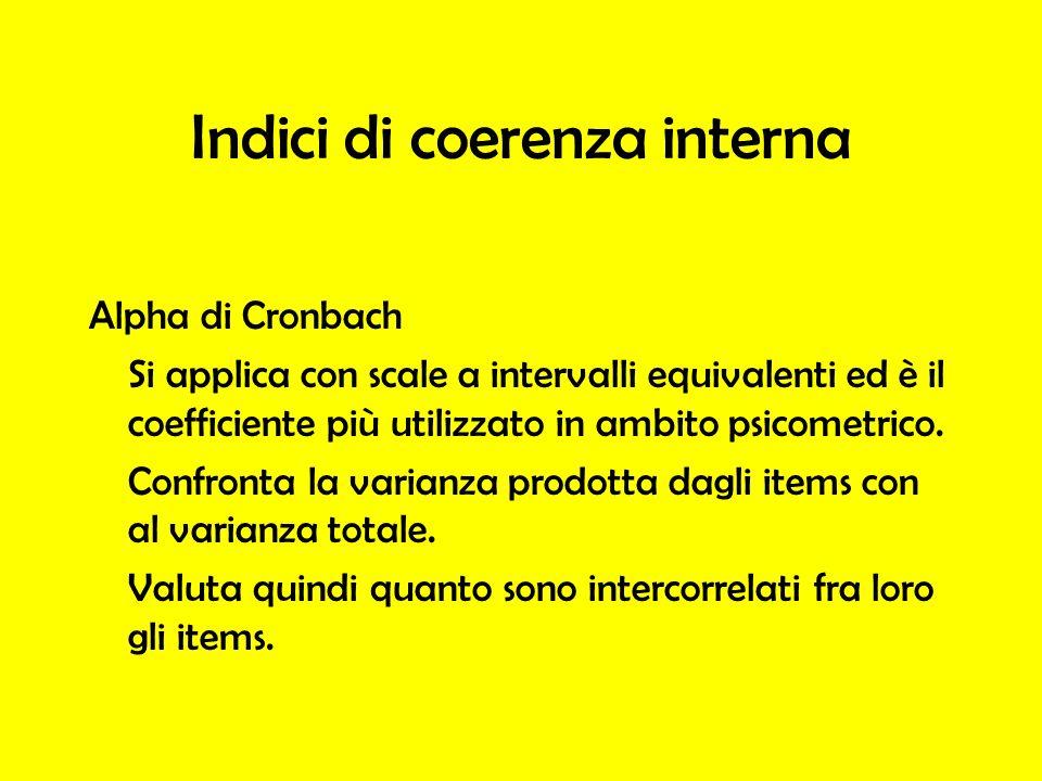 Alpha di Cronbach Si applica con scale a intervalli equivalenti ed è il coefficiente più utilizzato in ambito psicometrico. Confronta la varianza prod