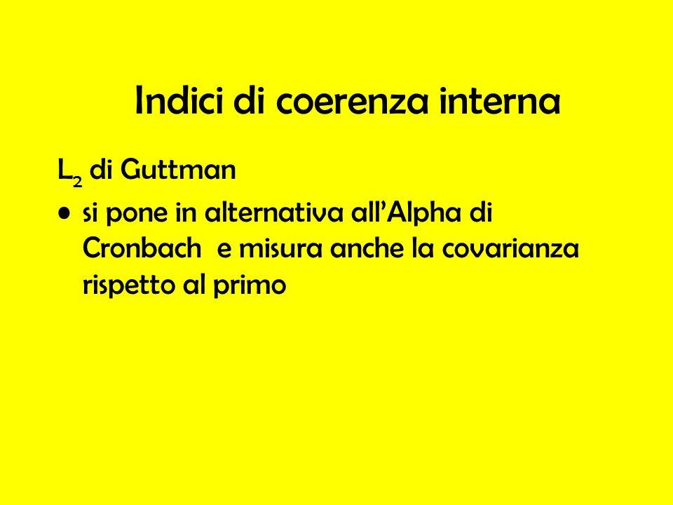 L 2 di Guttman si pone in alternativa allAlpha di Cronbach e misura anche la covarianza rispetto al primo Indici di coerenza interna