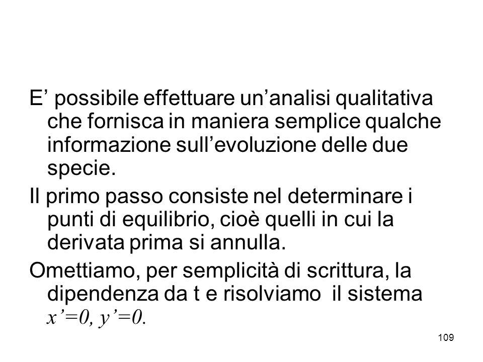 109 E possibile effettuare unanalisi qualitativa che fornisca in maniera semplice qualche informazione sullevoluzione delle due specie. Il primo passo