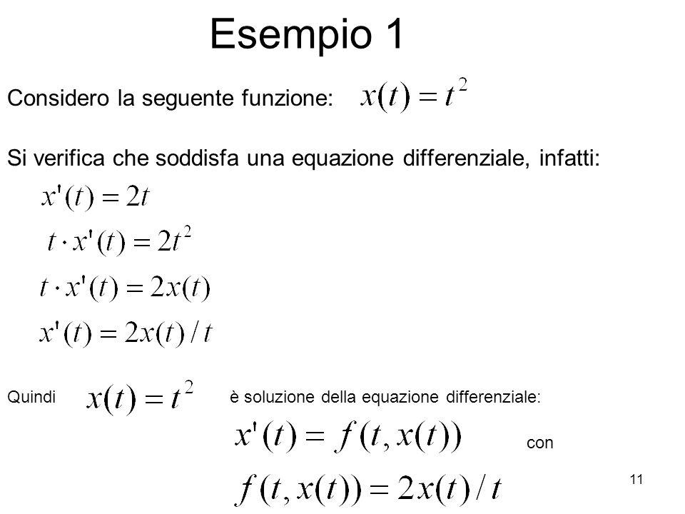 11 Esempio 1 Si verifica che soddisfa una equazione differenziale, infatti: Considero la seguente funzione: Quindiè soluzione della equazione differen