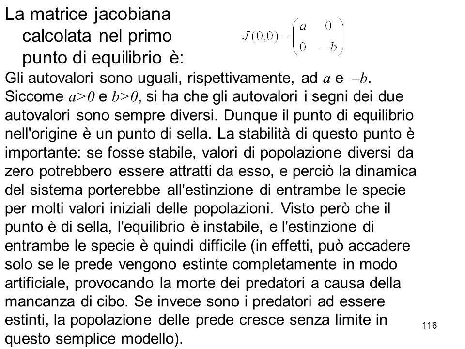 116 La matrice jacobiana calcolata nel primo punto di equilibrio è: Gli autovalori sono uguali, rispettivamente, ad a e –b. Siccome a>0 e b>0, si ha c