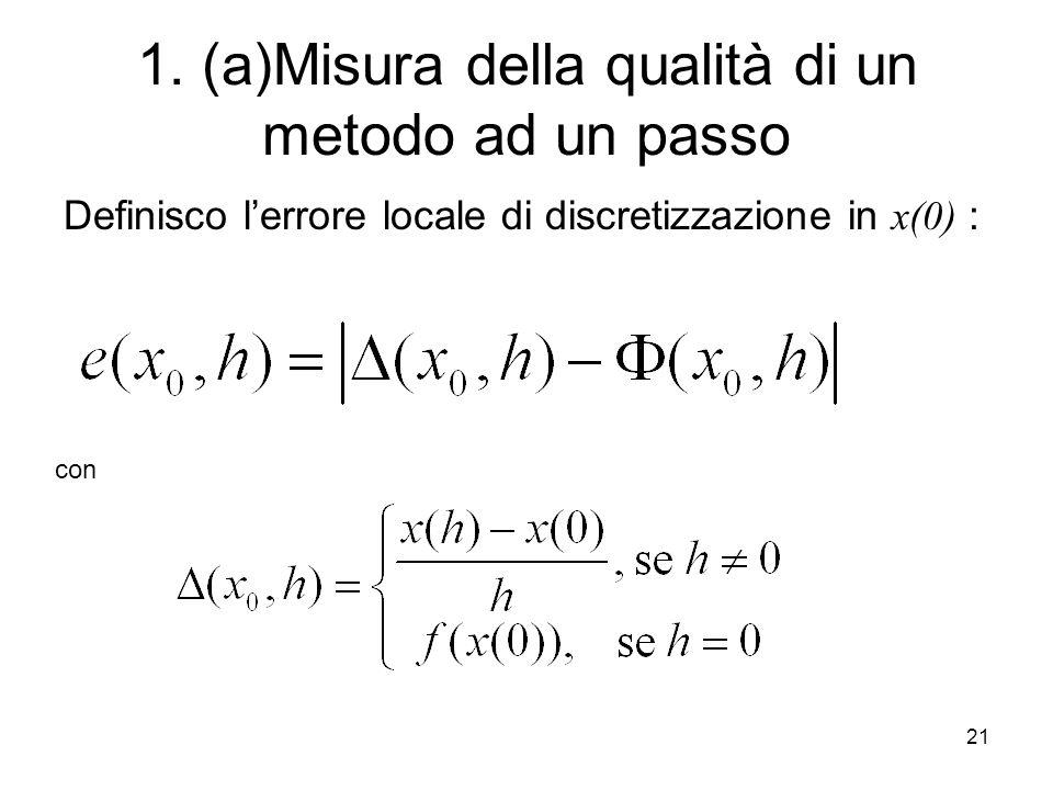 21 1. (a)Misura della qualità di un metodo ad un passo Definisco lerrore locale di discretizzazione in x(0) : con