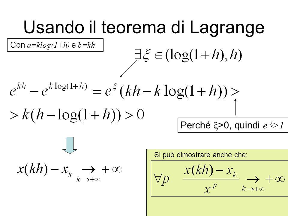 27 Usando il teorema di Lagrange Con a=klog(1+h) e b=kh Perché >0, quindi e >1 Si può dimostrare anche che: