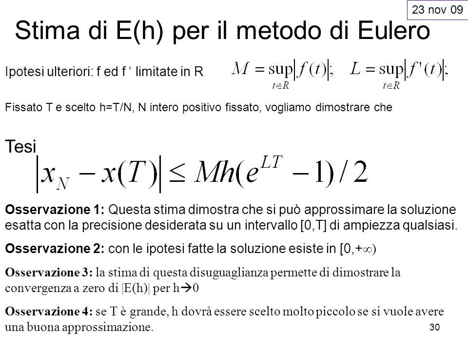 30 Stima di E(h) per il metodo di Eulero Ipotesi ulteriori: f ed f limitate in R Fissato T e scelto h=T/N, N intero positivo fissato, vogliamo dimostr