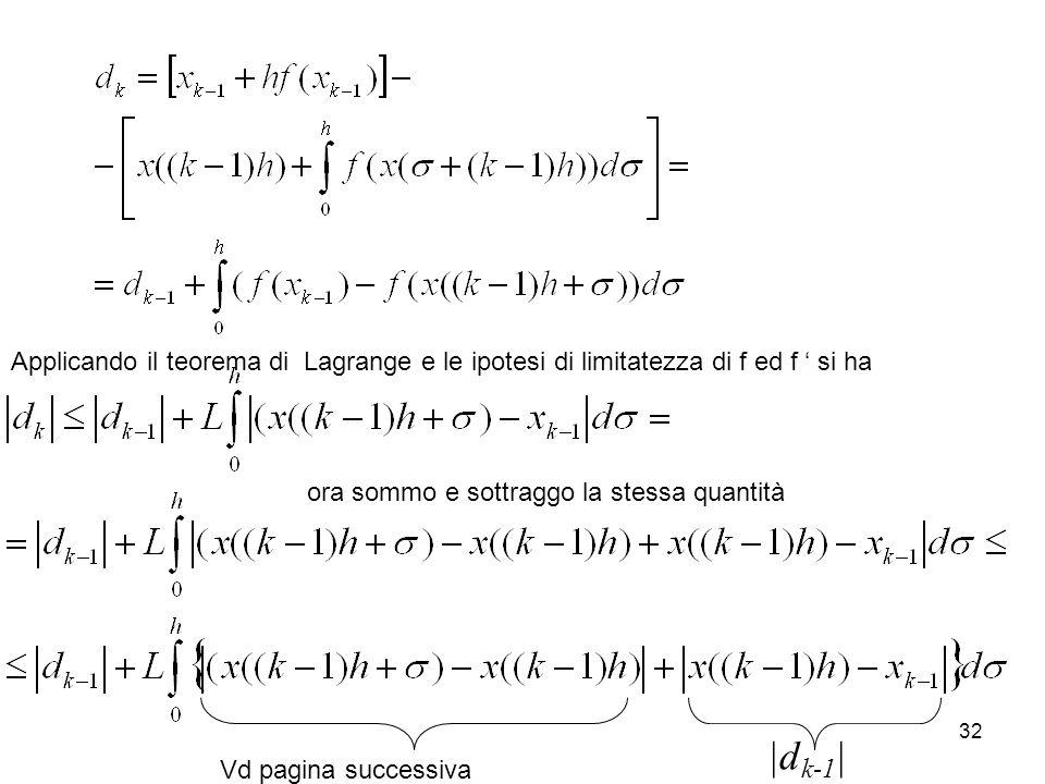 32 Applicando il teorema di Lagrange e le ipotesi di limitatezza di f ed f si ha |d k-1 | Vd pagina successiva ora sommo e sottraggo la stessa quantit