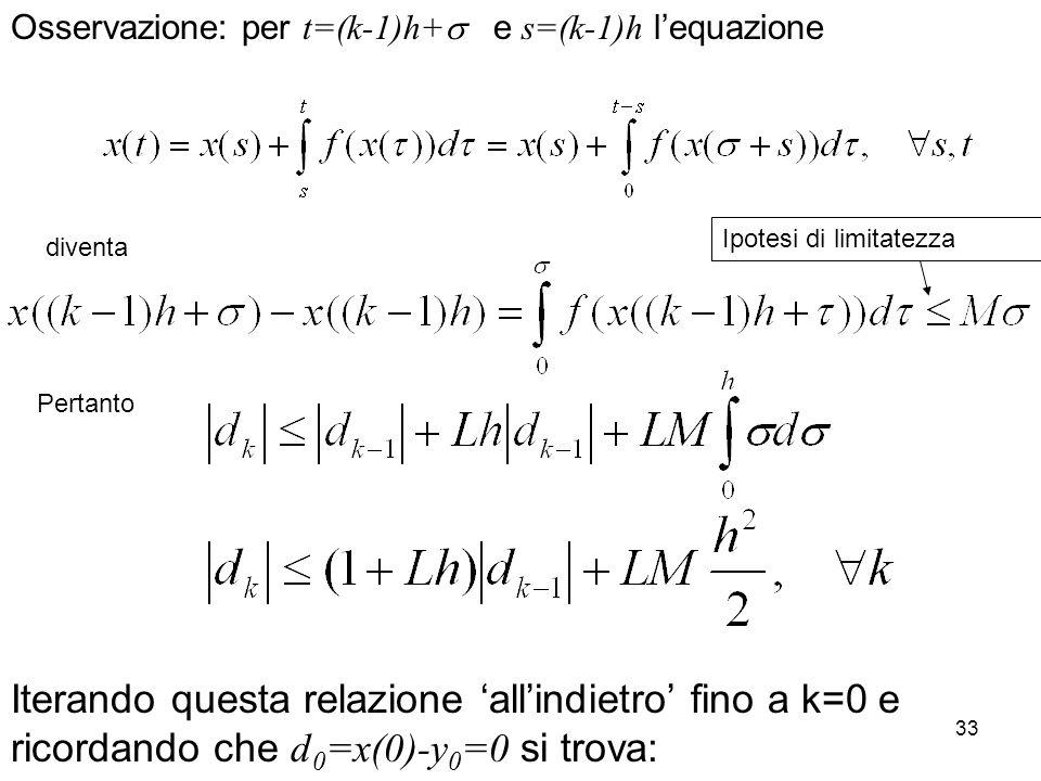 33 Osservazione: per t=(k-1)h+ e s=(k-1)h lequazione diventa Pertanto Iterando questa relazione allindietro fino a k=0 e ricordando che d 0 =x(0)-y 0