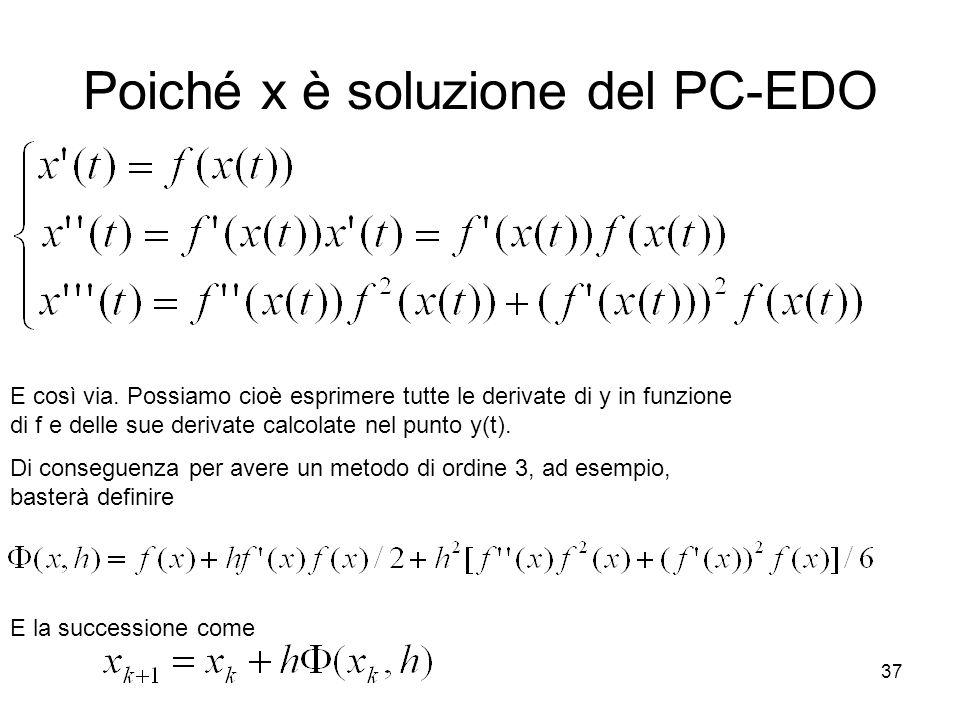 37 Poiché x è soluzione del PC-EDO E così via. Possiamo cioè esprimere tutte le derivate di y in funzione di f e delle sue derivate calcolate nel punt