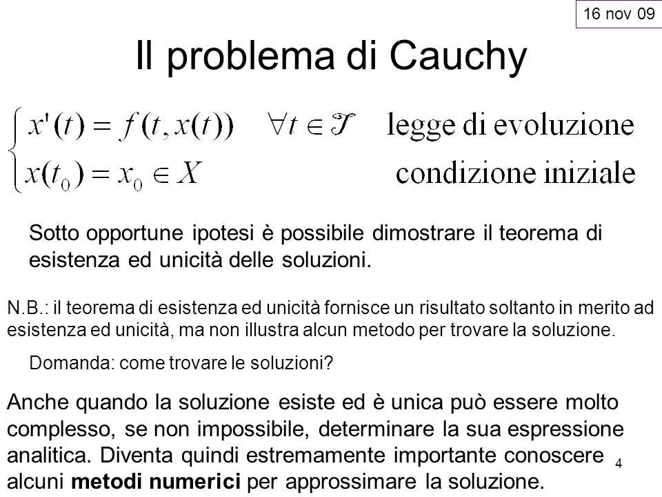 4 Il problema di Cauchy Sotto opportune ipotesi è possibile dimostrare il teorema di esistenza ed unicità delle soluzioni. N.B.: il teorema di esisten