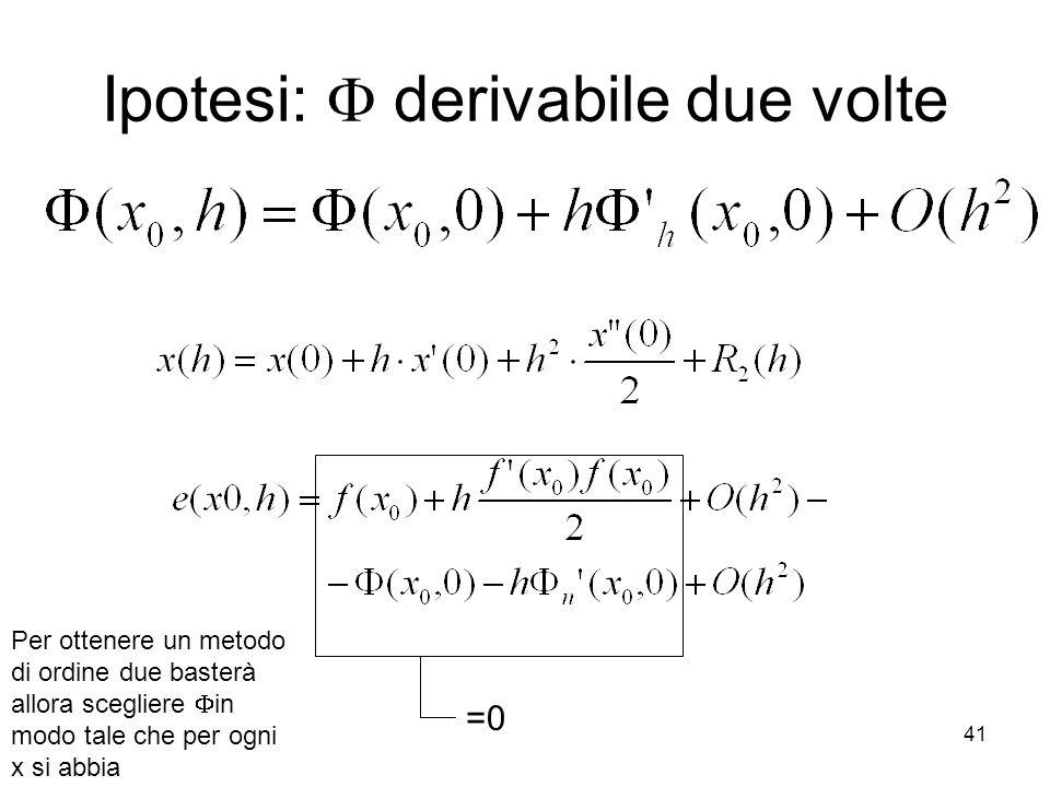 41 Ipotesi: derivabile due volte Per ottenere un metodo di ordine due basterà allora scegliere in modo tale che per ogni x si abbia =0