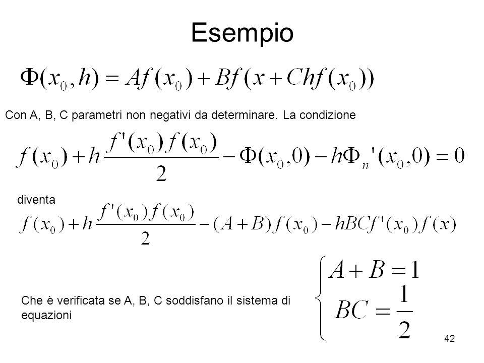 42 Esempio Con A, B, C parametri non negativi da determinare. La condizione diventa Che è verificata se A, B, C soddisfano il sistema di equazioni