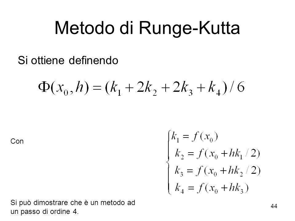 44 Metodo di Runge-Kutta Si ottiene definendo Con Si può dimostrare che è un metodo ad un passo di ordine 4.