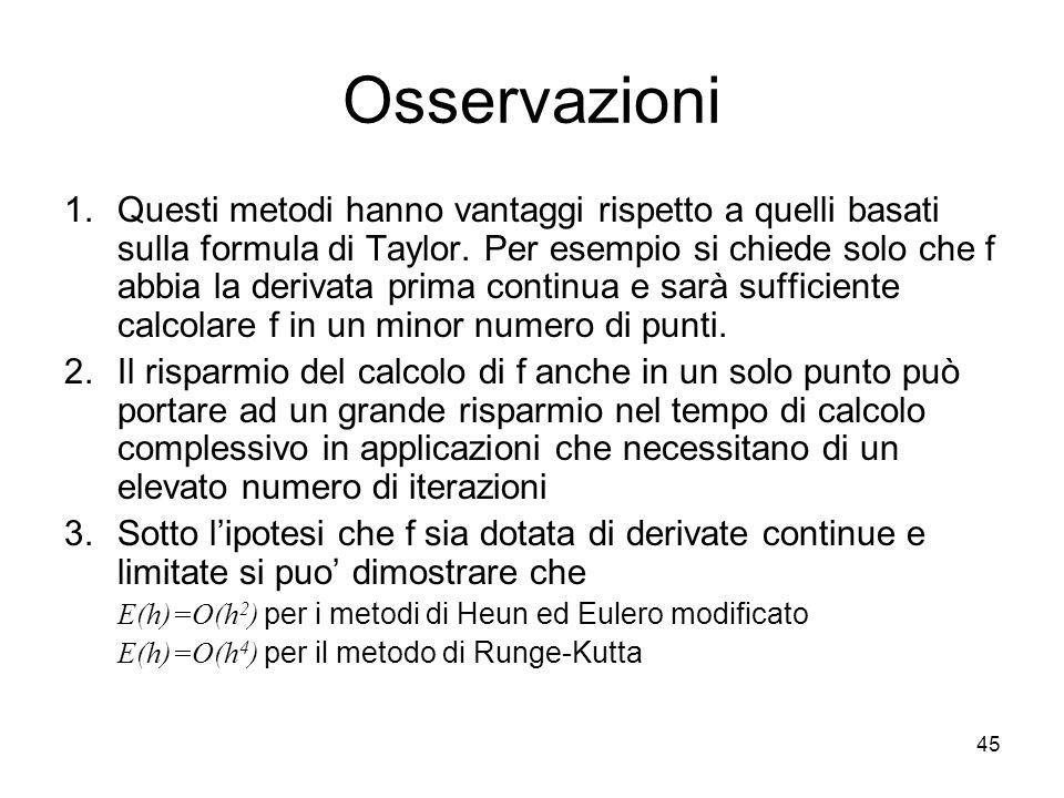 45 Osservazioni 1.Questi metodi hanno vantaggi rispetto a quelli basati sulla formula di Taylor. Per esempio si chiede solo che f abbia la derivata pr