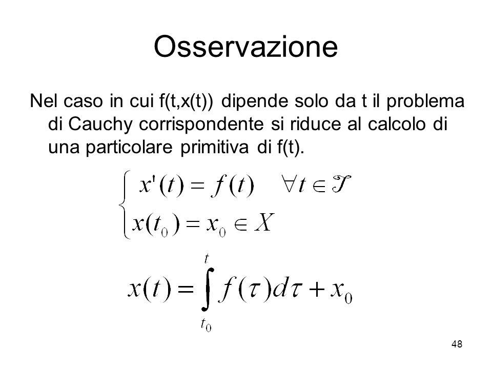 48 Osservazione Nel caso in cui f(t,x(t)) dipende solo da t il problema di Cauchy corrispondente si riduce al calcolo di una particolare primitiva di