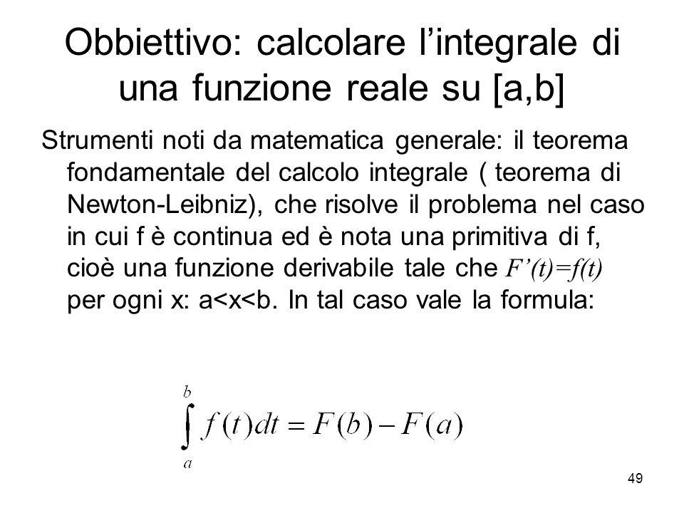 49 Obbiettivo: calcolare lintegrale di una funzione reale su [a,b] Strumenti noti da matematica generale: il teorema fondamentale del calcolo integral