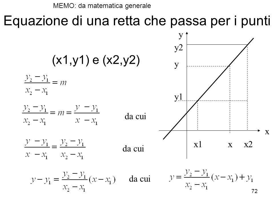 72 Equazione di una retta che passa per i punti (x1,y1) e (x2,y2) x1 x x2 y2 y y1 x y da cui MEMO: da matematica generale