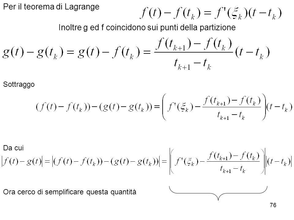 76 Inoltre g ed f coincidono sui punti della partizione Per il teorema di Lagrange Sottraggo Da cui Ora cerco di semplificare questa quantità