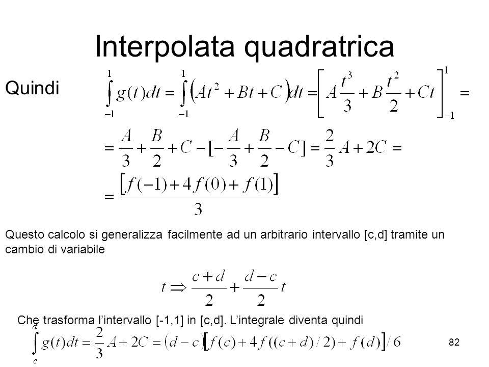 82 Interpolata quadratrica Quindi Questo calcolo si generalizza facilmente ad un arbitrario intervallo [c,d] tramite un cambio di variabile Che trasfo