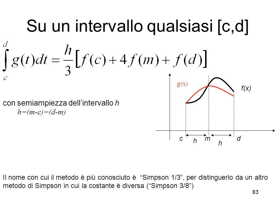 83 Su un intervallo qualsiasi [c,d] con semiampiezza dellintervallo h h=(m-c)=(d-m) Il nome con cui il metodo è più conosciuto è Simpson 1/3, per dist