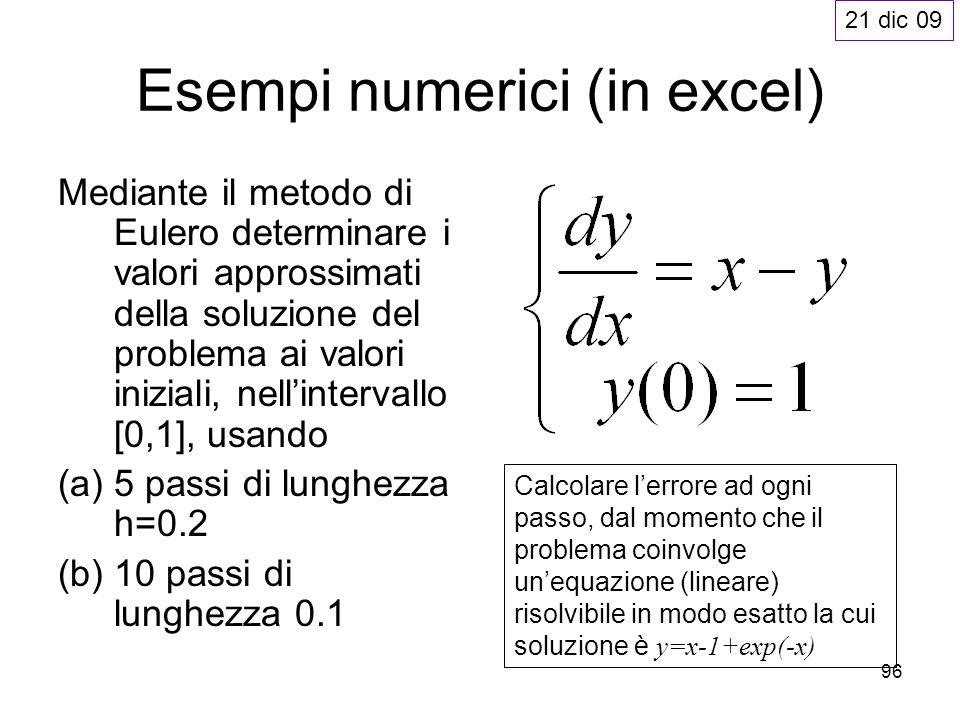96 Esempi numerici (in excel) Mediante il metodo di Eulero determinare i valori approssimati della soluzione del problema ai valori iniziali, nellinte