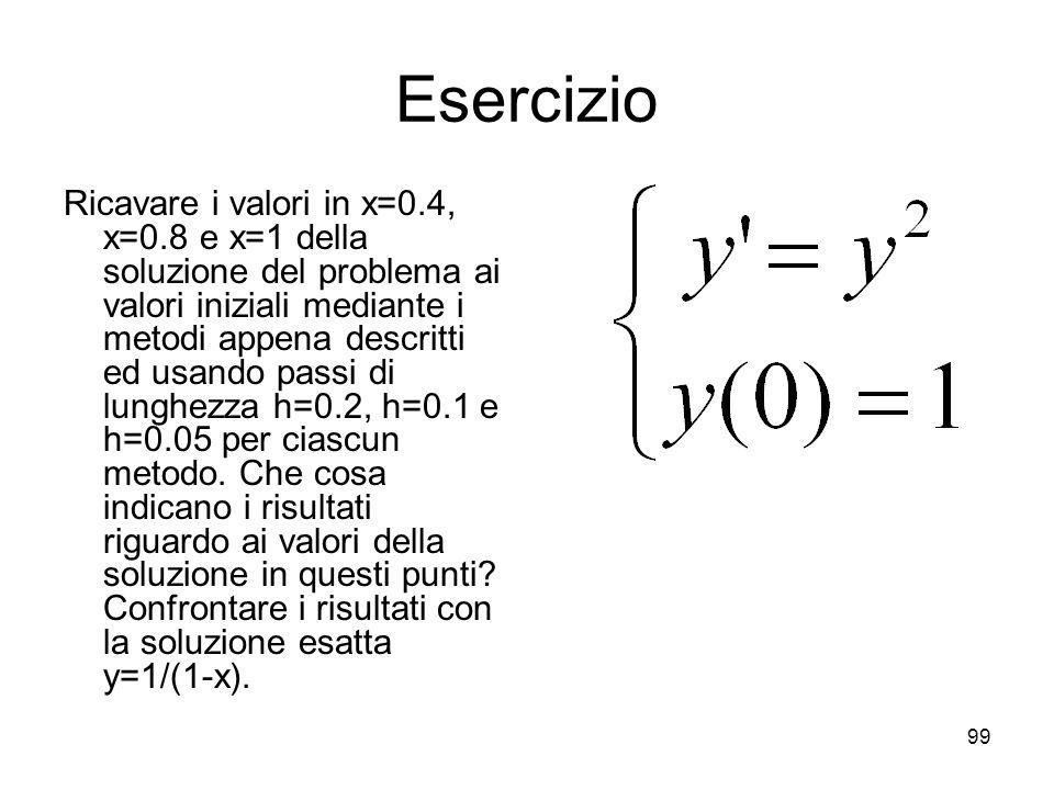 99 Esercizio Ricavare i valori in x=0.4, x=0.8 e x=1 della soluzione del problema ai valori iniziali mediante i metodi appena descritti ed usando pass