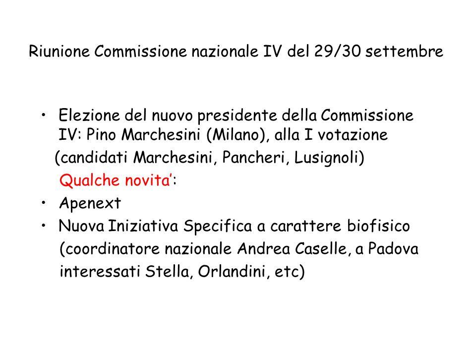 Riunione Commissione nazionale IV del 29/30 settembre Elezione del nuovo presidente della Commissione IV: Pino Marchesini (Milano), alla I votazione (