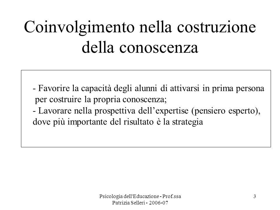 Psicologia dell Educazione - Prof.ssa Patrizia Selleri - 2006-07 4 Dare significato al contesto - Ricordare che la conoscenza è situata nel contesto - favorire le pratiche di apprendimento guidato Cooperative learning