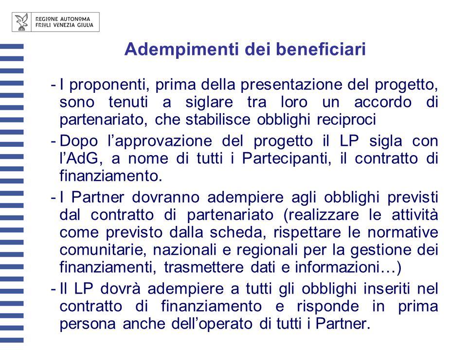 Adempimenti dei beneficiari -I proponenti, prima della presentazione del progetto, sono tenuti a siglare tra loro un accordo di partenariato, che stabilisce obblighi reciproci -Dopo lapprovazione del progetto il LP sigla con lAdG, a nome di tutti i Partecipanti, il contratto di finanziamento.